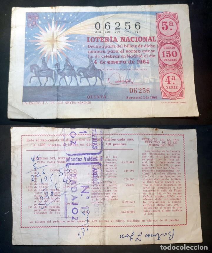 LOTERIA NACIONAL - 4 DE ENERO DE 1964 - Nº 06256 (Coleccionismo - Lotería Nacional)