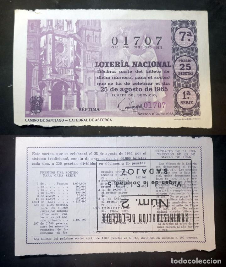 LOTERIA NACIONAL - 25 DE AGOSTO DE 1965 - Nº 01707 (Coleccionismo - Lotería Nacional)