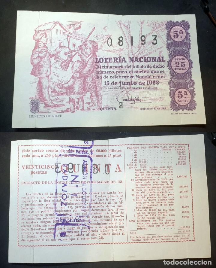LOTERIA NACIONAL - 15 DE JUNIO DE 1963 - Nº 08193 (Coleccionismo - Lotería Nacional)