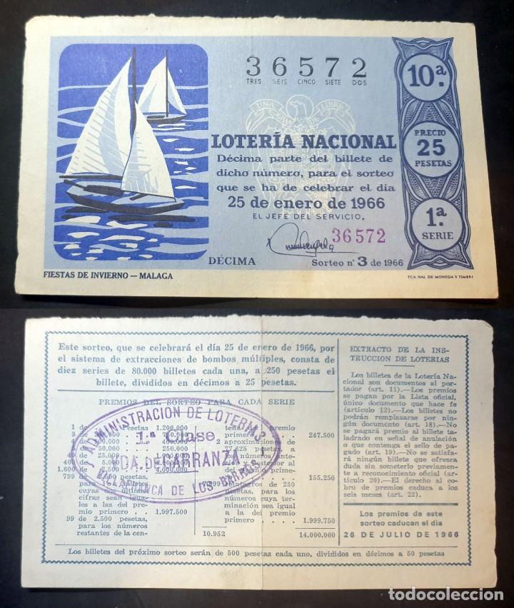 LOTERIA NACIONAL - 25 DE ENERO DE 1966 - Nº 36572 (Coleccionismo - Lotería Nacional)