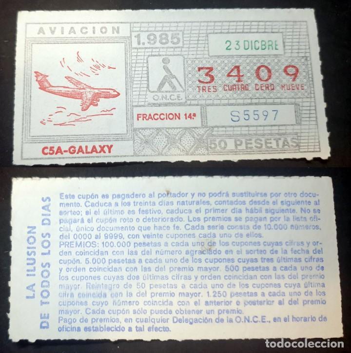CUPON DE LA ONCE - 23 DE DICIEMBRE DE 1985 - Nº 3409 (Coleccionismo - Lotería Nacional)