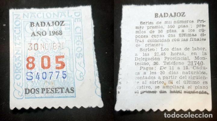 CUPON DE LA ONCE - 30 DE NOVIEMBRE DE 1968 - Nº 805 (Coleccionismo - Lotería Nacional)