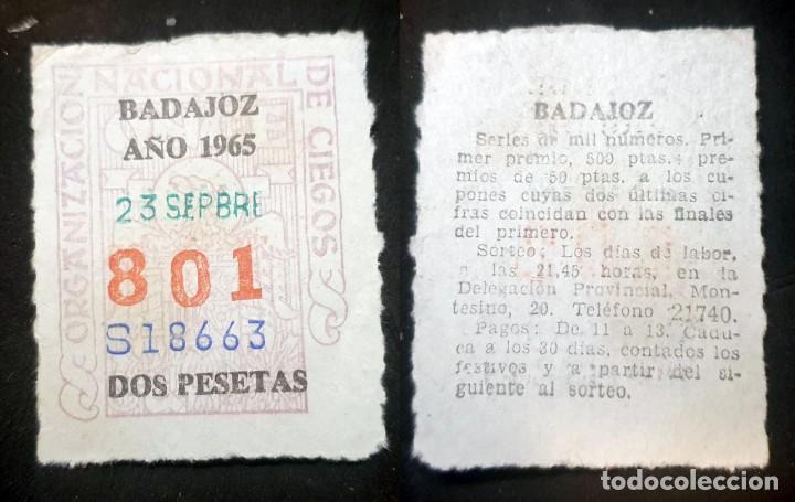 CUPON DE LA ONCE - 23 DE DEPTIEMBRE DE 1965 - Nº 801 (Coleccionismo - Lotería Nacional)