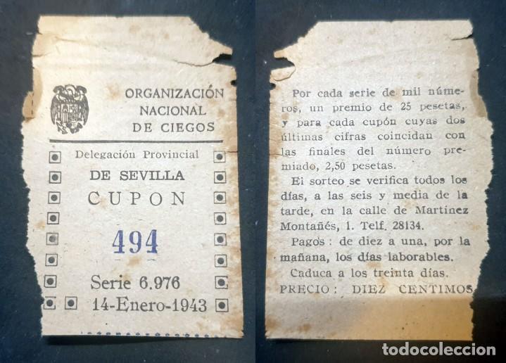CUPON DE LA ONCE - 14 DE ENERO DE 1943 - Nº 494 (Coleccionismo - Lotería Nacional)