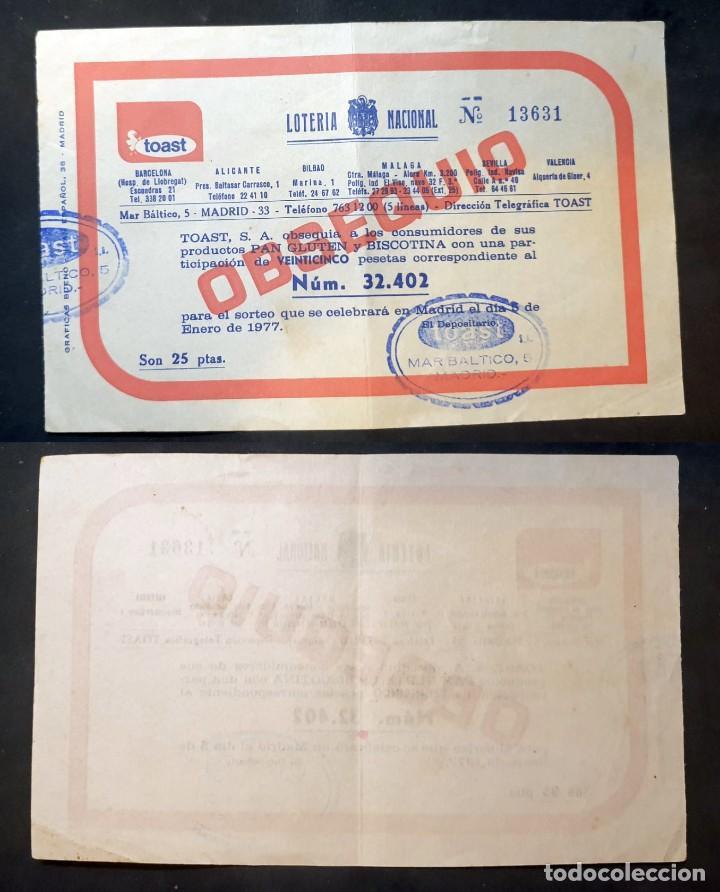 LOTERIA NACIONAL - 8 DE ENERO DE 1977 - Nº 13631 - OBSEQUIO DE TOAST (Coleccionismo - Lotería Nacional)