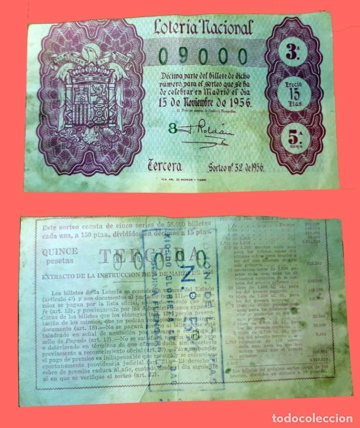 LOTERIA NACIONAL - 15 DE NOVIEMBRE DE 1956 - Nº 09000 (Coleccionismo - Lotería Nacional)