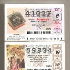 Lotaria Nacional: LOTERIA AÑOS 2001, 2002, 2003. Lote 246125895