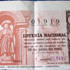 Lotería Nacional: SORTEO 21 DE 1965 - DÉCIMO NÚMERO 01919. Lote 246147160