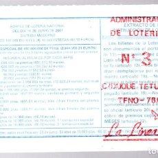 Loterie Nationale: LOTERIA NACIONAL - ADMINISTRACIÓN Nº 3 DE LA LINEA (CÁDIZ) - SORTEO 48/01 -. Lote 247701845
