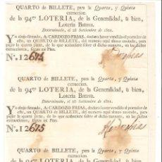 Lotería Nacional: PARTICIPACIONES.3/4 DE BILLETE 94 LOTERÍA DE LA GENERALIDAD O LOTERÍA BATAVA (PAISES BAJOS) 1801.. Lote 248048235