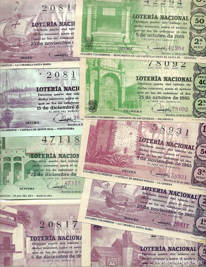LOTE DE 40 DECIMO LOTERIA AÑO 1965 DE TODOS LOS MESES DEL AÑO (Coleccionismo - Lotería Nacional)