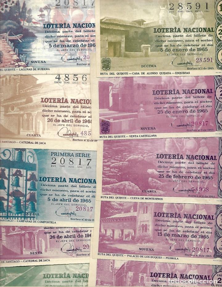 Lotería Nacional: LOTE DE 40 DECIMO LOTERIA AÑO 1965 DE TODOS LOS MESES DEL AÑO - Foto 2 - 254209640