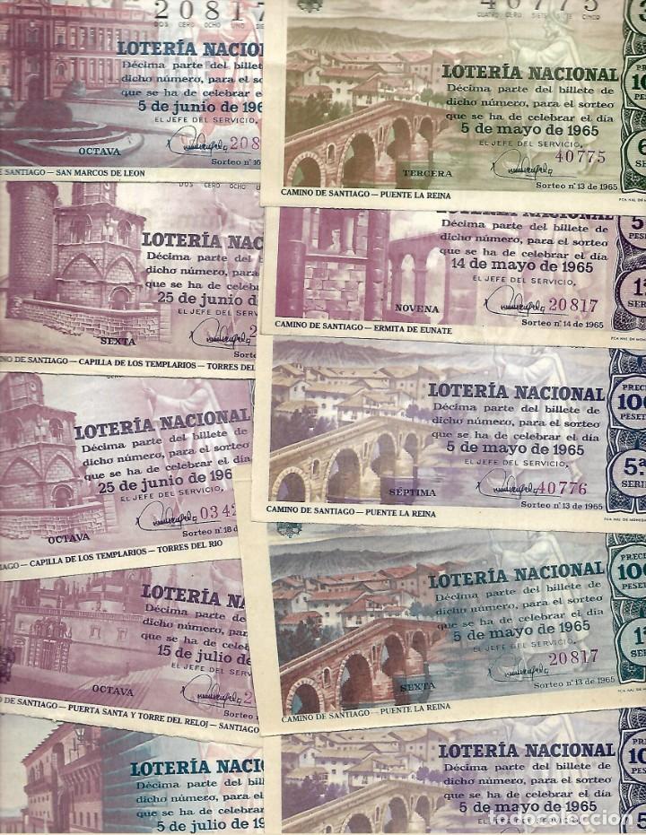 Lotería Nacional: LOTE DE 40 DECIMO LOTERIA AÑO 1965 DE TODOS LOS MESES DEL AÑO - Foto 4 - 254209640
