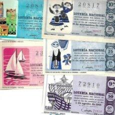 Lotería Nacional: LOTE DE 6 DECIMO LOTERIA AÑO 1966. Lote 254209960