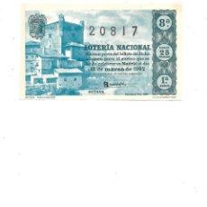 Lotería Nacional: DECIMO DE LOTERIA 15 MARZO 1962 - POTES - SANTANDER. Lote 254216070