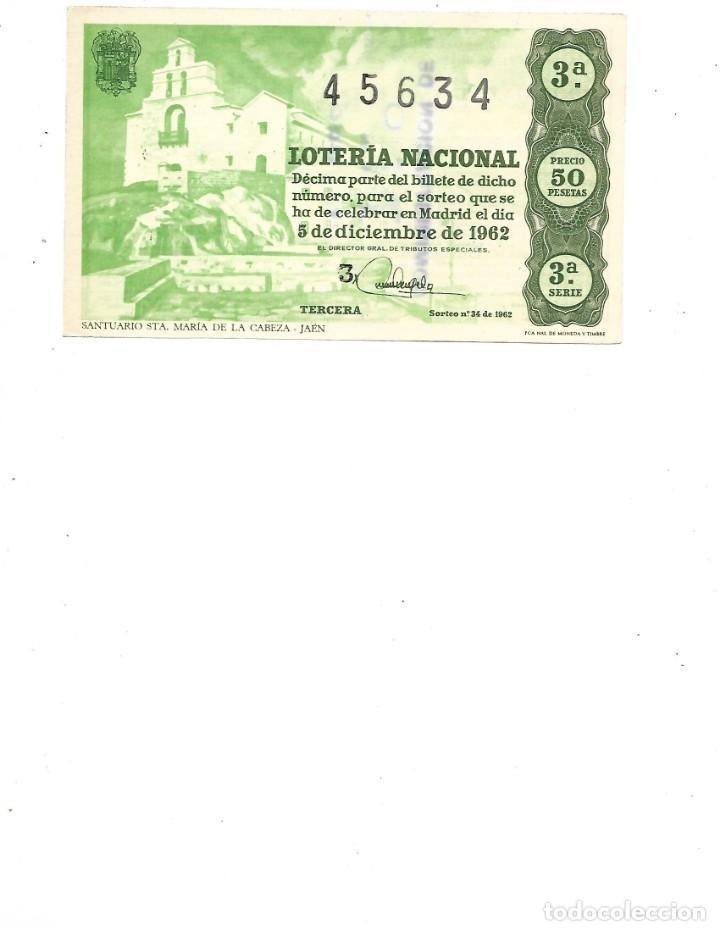 DECIMO DE LOTERIA 5 DICIEMBRE 1962 - SANTUARIO STA. MARIA DE LA CABEZA (Coleccionismo - Lotería Nacional)