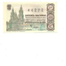 Lotería Nacional: DECIMO DE LOTERIA 22 DICIEMBRE 1962 - CATEDRAL SANTIAGO DE COMPOSTELA. Lote 254217090