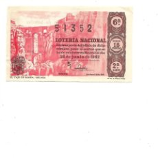 Lotería Nacional: DECIMO DE LOTERIA 25 JUNIO 1962 EL TAJO DE RONDA MALAGA. Lote 254218265