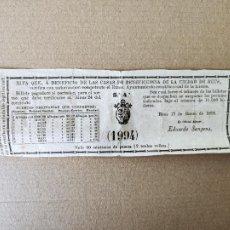 Lotería Nacional: BOLETO RIFA - LOTERÍA AÑO 1876 - CIUDAD DE REUS. Lote 254290195