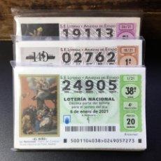 Lotería Nacional: LOTE 100 DECIMOS LOTERIA AÑO 2021 (SORTEOS HASTA EL ACTUAL). Lote 254472465
