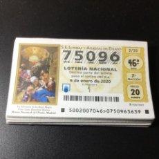 Lotería Nacional: LOTE 41 DECIMOS LOTERÍA AÑO 2020 (CASI TODOS LOS SORTEOS). Lote 254625520