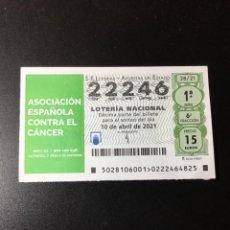 Lotería Nacional: DECIMO LOTERÍA 2021 SORTEO 28/21. Lote 254626095