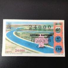 Lotería Nacional: DECIMO LOTERÍA 1973 SORTEO 18/73 CRUZ ROJA NÚMERO EXACTO 24000. Lote 254628130