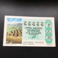 Lotería Nacional: DECIMO LOTERÍA 1985 SORTEO 24/85 - 5 CIFRAS IGUALES - NÚMERO 22222. Lote 255018230