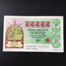 Lotería Nacional: DECIMO LOTERÍA 1983 SORTEO 21/83 NÚMERO 22222 - 5 CIFRAS IGUALES. Lote 255018475