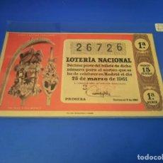 Lotería Nacional: LOTERIA 1961 SORTEO 9. Lote 255485235