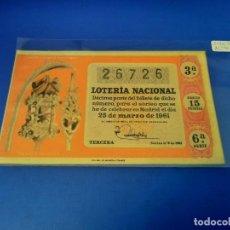 Lotería Nacional: LOTERIA 1961 SORTEO 9. Lote 255485390