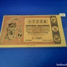 Lotería Nacional: LOTERIA 1961 SORTEO 9. Lote 255485855