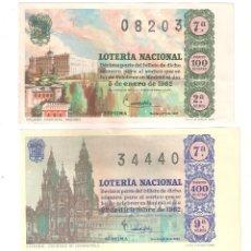 Lotería Nacional: LOTERIA NACIONAL AÑO 1962 COMPLETO. DESDE MUY BUENO A NORMAL. Lote 257304615