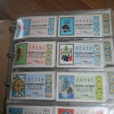 Lotería Nacional: MEGA LOTE DECIMOS LOTERIA AÑOS 1969 AL 1980 COMPLETOS TOTAL 550 NUMEROS LOTERY DECIMO. Lote 257609265