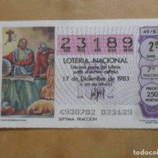 Lotaria Nacional: DECIMO - Nº 23189 - 17 DICIEMBRE 1983 - 49/83 - COLON EXPONIENDO SU PLAN. Lote 257952490