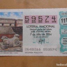 Lotaria Nacional: DECIMO - Nº 59574 - 7 JULIO 1984 - 26/84 - PALACIO GOBERNADOR. UXMAL. C. TOLTECA. Lote 257964065