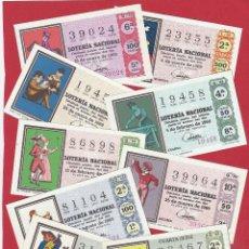 Lotteria Nationale Spagnola: LOTERIA AÑO COMPLETO 1969 36 DECIMOS REFRANES. Lote 260395960