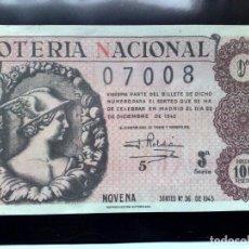 Lotería Nacional: DECIMO LOTERIA NACIONAL,SORTEO Nº36 DE 100 PESETAS DE 1945,9ª-3ª SERIE.. Lote 260789995
