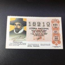 Lotería Nacional: DECIMO LOTERIA 1987 SORTEO 31/87. Lote 261836550