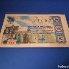 Lotería Nacional: LOTERIA 1962 SORTEO 1. Lote 262140535