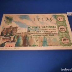 Lotería Nacional: LOTERIA 1962 SORTEO 1. Lote 262140770