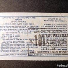 Lotería Nacional: DÉCIMO 13 SEPTIEMBRE 1986. Nº 23720. ADMINISTRACIÓN LOTERÍAS LA PRESILLA. MADRID.. Lote 262679335