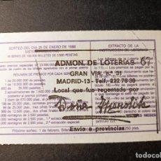 Lotería Nacional: DÉCIMO 25 ENERO DE 1986. Nº 38409. ADMINISTRACIÓN LOTERÍA DOÑA MANOLITA. GRAN VÍA 31. MADRID.. Lote 262683735