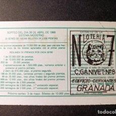 Lotería Nacional: DÉCIMO 26 ABRIL DE 1986. Nº 51584. ADMINISTRACIÓN LOTERÍA Nº 7. GRANADA.. Lote 262690535