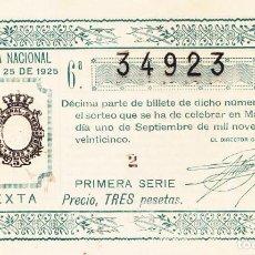 Lotería Nacional: SORTEO 25 DE 1925. Lote 262707805