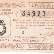 Lotería Nacional: SORTEO 25 DE 1925. Lote 262708675