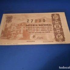 Lotería Nacional: LOTERIA 1962 SORTEO 12. Lote 262826530