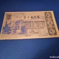 Lotería Nacional: LOTERIA 1962 SORTEO 12. Lote 262826600