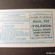 Lotería Nacional: DÉCIMO 28 MARZO 1987. Nº 78221. ADMINISTRACIÓN LOTERÍAS Nº 131. RENFE CHAMARTÍN. MADRID.. Lote 262962385