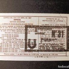 Lotería Nacional: DÉCIMO 4 ABRIL DE 1987. Nº 69482. ADMINISTRACIÓN LOTERÍA Nº31. MADRID.. Lote 262992900
